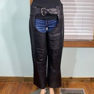 MOB Hand Tooled Black Leather Motorcycle Chaps Sm